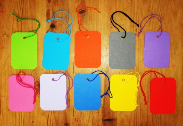 Multi-Colour Strung Display Tags. Approx 70x50mm. 10 different colours. Pack/50